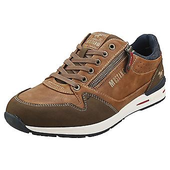 Mustang Low Top Side Zip Mens Casual Trainers in Light Brown