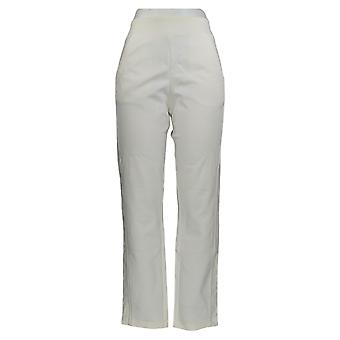 Belle by Kim Gravel Women's Pants Ponte w/ Side Lace Trim Ivory A367283
