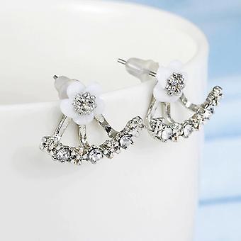 Gümüş Çiçek Kulak Ceket Küpe