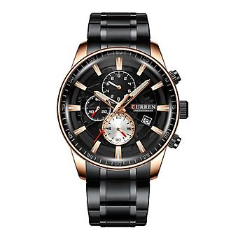 Curren Steel Luxury Watch - Strap Analog Quartz Stainless Movement for Men - Zwart