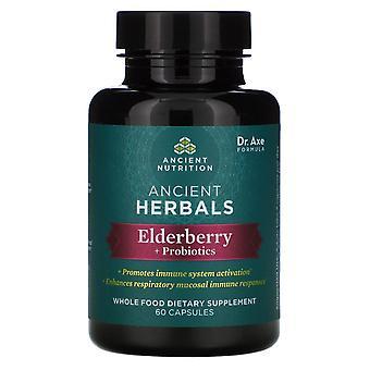 Dr. Axe / Ancient Nutrition, Ancient Herbals, Elderberry + Probiotics, 60 Capsul