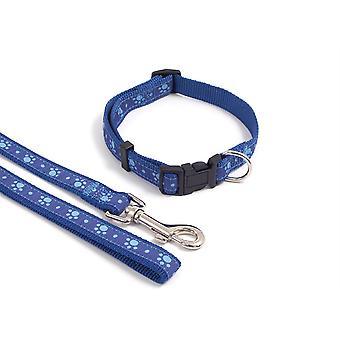 Wag N Walk Nylon Lead - 40 x 3/4 pouces - Paw Blue