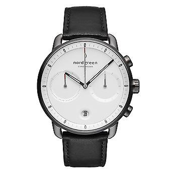 Nordgreen PI42GMLEBLXX White Dial Black Leather Strap Wristwatch