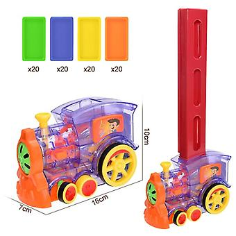 Kids Domino Train Car Setautomatic Layinggame Educational  Toy