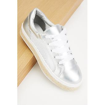 Perforated Lace Up Plimsolls 681897