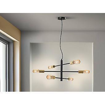 6 Lichte Multi Arm Plafondhanger Zwart, E27