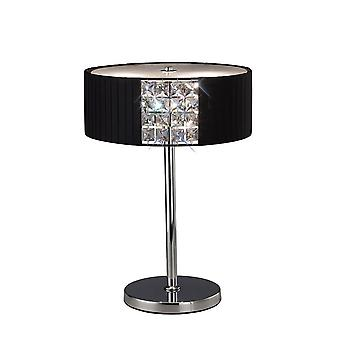Tafellamp ronde met zwarte schaduw 2 licht gepolijst chroom, kristal