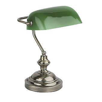 Faro Banker - 1 Light Banker Lamp Green, Antique Gold, E27