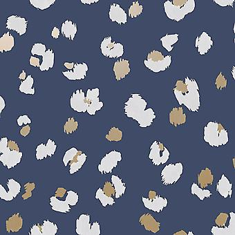 Leopard Spot Wallpaper Navy Blue/Gold/White World of Wallpaper WOW045