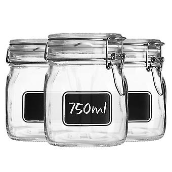Bormioli Rocco 3pc Lavagna Glass Storage Jar Set with Chalkboard Labels - Food Pasta Jam Preserving Jars - 750ml