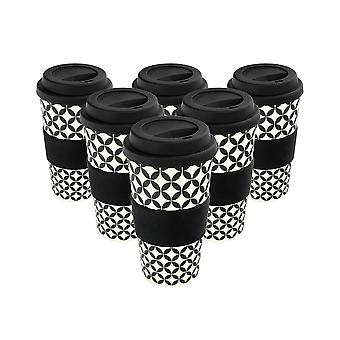 Reusable Coffee Cups - Bamboo Fibre Travel Mugs with Silicone Lid, Sleeve - 400ml (14oz) - Circles - Black - x6