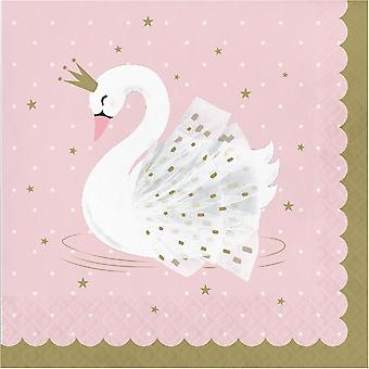 Swan Princess Party Napkins Pink Gold Partyware x 16