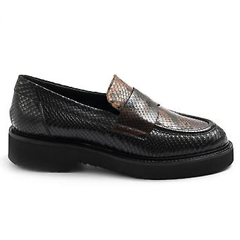 Moccassic Carmens Nelly Daily Black und Brown Python