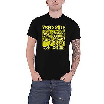 7 Seconds T Shirt Walk Together Rock Together  Band Logo Official Mens Black