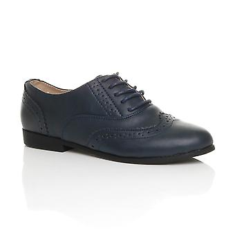 Ajvani womens flat low heel lace up smart vintage oxford shoes brogues