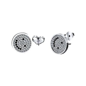 Pair of press fit cubic zirconia happy face stud earrings 20ga 316l stainless st