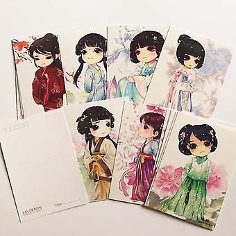 Kawaii / söpö käsinmaalatut kiinalaiset perinteiset vaatetus postikortit, klassinen