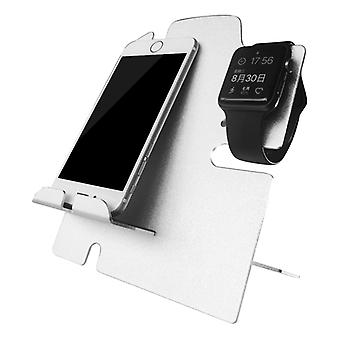 Apple Watch Stand With iPhone Dock - 2 in 1 Charging Station for All iWatch and Phone Models (Silver)