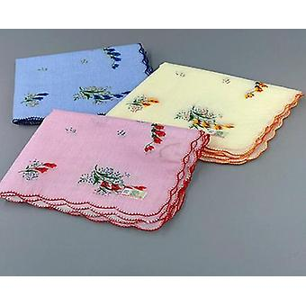 Floral Embroidered, Lace Handkerchief