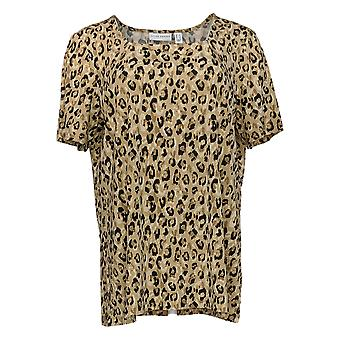 Susan Graver Women's Top Animal Printed Liquid Knit Top Beige A391731