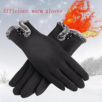 New Female Autumn Winter Non-inverted Velvet Cashmere Full Finger Warm Lace