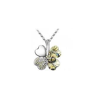 Gelbe Citrin - Swarovski Elemente Kristall vier Blatt Klee Anhänger Halskette 19 mit einem Geschenk-Box