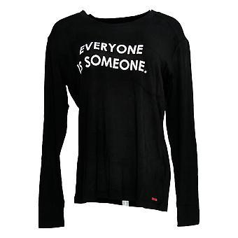 Peace Love World Women's Top Long Sleeve Affirmation T-Shirt Black A288637