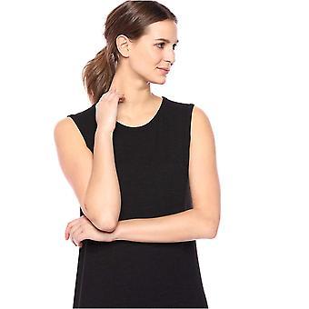 Daily Ritual Kvinnor's Cozy Knit Muscle Sleeve Klänning, Svart, Medium