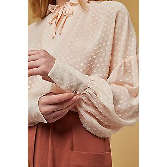 Louche Alexy Solid Dobby Ruffle Neck Blouse Pink