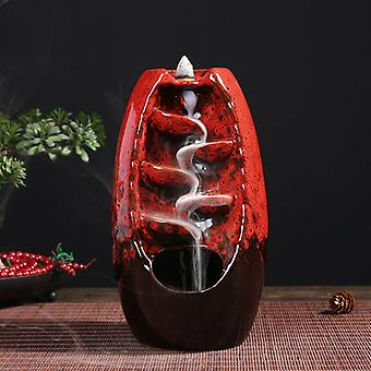 Minideal Aromatherapy Ornamental Incense Burner Waterfall Backflow - Backflow Incense Burner Feng Shui Decor Ornament Red