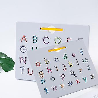 Kid Magnetic Tablet Drawing Board Pad Toy, Bead Magnet, Stylus Pen, Alphabet,