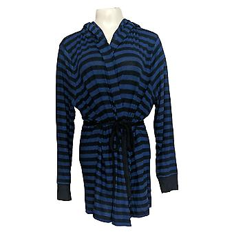 Anyone Women's Sweater Plus Brushed Hacci Striped Hooded Blue A310150