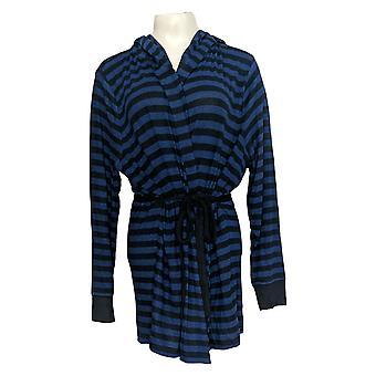 Chiunque maglione da donna più hacci spazzolato con cappuccio blu a strisce A310150