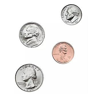 Argent, U.S. Coins Shape Stickers, Grade Pk-5, Pack Of 120