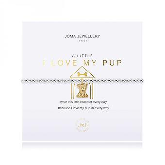 Joma Jewellery A Little I Love My Pup Silver 17.5cm Stretch Bracelet 3790