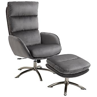 HOMCOM 2 Pieces Modern Stylish Ergonomic Tilt Leisure Armchair and Ottoman with Thick Sponge Padding, Metal Base, for Living Room, Bedroom, Study, Office, Dorm, Grey and Silver