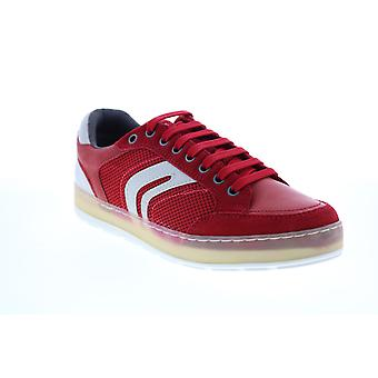 Geox U Ariam Mens Red Suede Lace Up Euro Sneakers Chaussures