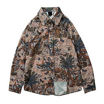 Allthemen Men's Print Flowers camisa Loose Casual Short-sleeved Top Summer
