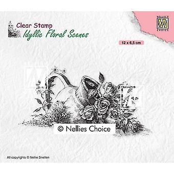Nellie's Valg Klart stempel - Idyllisk Blomstermotiver - Vase med roser 120x65mm