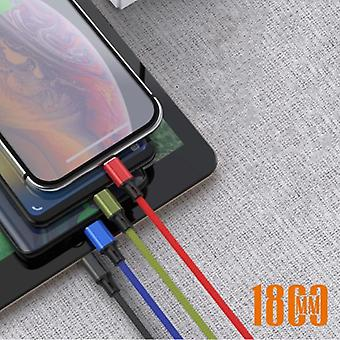 Nohon 4 in 1 Curled Charging Cable - iPhone Lightning / USB-C / Micro-USB - 1.8 Meter Charger Spiral Data Cable Black