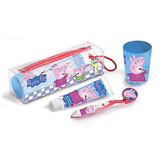 Cartoons Peppa pig Pasta dental 75 ml + Cepillo de dientes+Vaso+Neceser