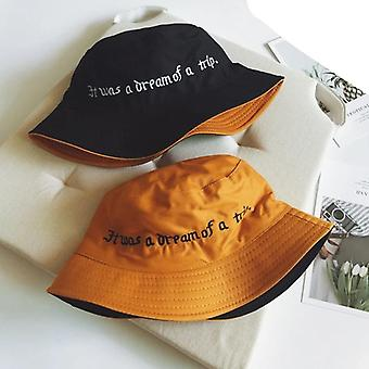 Double Sided Wear Finger Something Embroidery Panama Bucket Hat