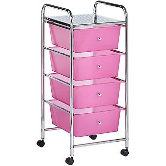 Gerui 4 Drawer Plastic Storage Trolley, Multipurpose Storage Drawer Rolling Cart, Unit for Home Office