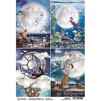Ciao Bella Piuma Rice Paper A4 - Moon and Me Cards