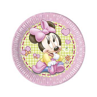 8 Grandes assiettes en carton Bébé Minnie  23cm
