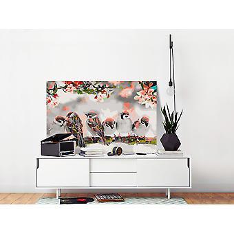 Pintura de tela DIY - Pássaros no Ramo-60x40