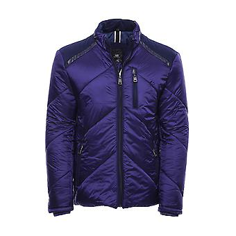 Blue quilted down coat