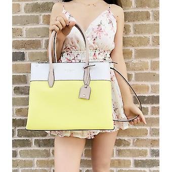 Kate spade eva colorblock leather medium satchel crossbody tote limelight yellow