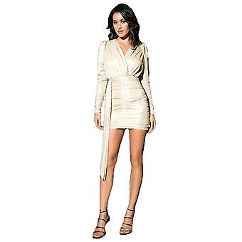 Sexy Gold Deep V-Neck Pleated Slim Long Party Mini Dress For Female