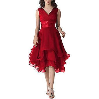 en linje v nakke pleat kne lengde bryllupsfest kjoler (sett 1)